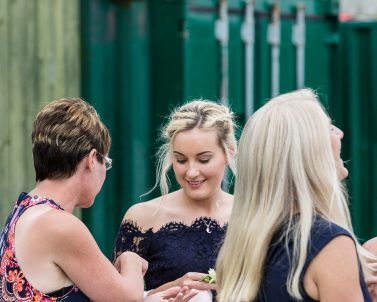 Bridesmaids looking forward to the big party tunes supplied by Party DJ Cornwall.