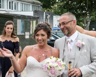 Celebrations & Confetti for the happy couple as they lead off for their 1st dance supplied by Wedding Dj in Cornwall.
