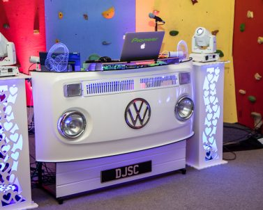 The Stylish VW DJ Booth supplied by Party DJ in Cornwall playing the biggest and best party tunes.