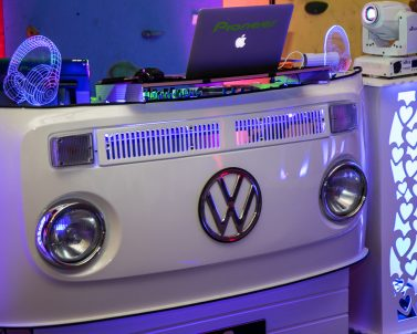 Immaculate white VW DJ Booth ready to play the biggest party tune with wedding DJ Cornwall.