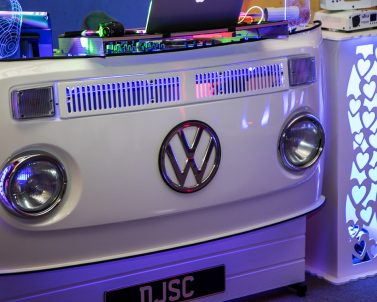 The Uplighters and VW DJ Booth supplied by Dj in Cornwall at Clive & Debs Wedding.