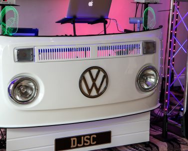 VW DJ Booth number plate ready and set up for the Set & Sams Wedding Party, music supplied by Dj in Cornwall.