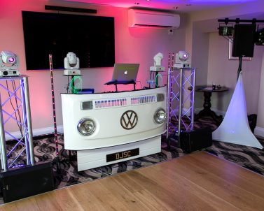 Tonights set up for Seb & Sam Wedding Party at Carylon Bay Golf Club music and lights supplied by Dj in Cornwall.