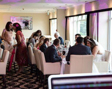 Sam & Sebs wedding guests enjoying the reception before the big party supplied by Wedding DJ Cornwall.