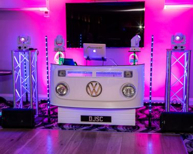 Pink uplighting for our sophisticated premium wedding look with Party Dj in Cornwall.