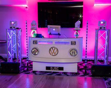 QSC Audio supplied by DJ in Cornwall for Sam & Seb Wedding Party at Carylon Bay Golf Club.