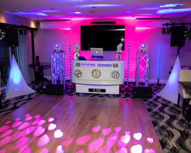 Our premium lighting and audio supplied by Wedding Dj in Cornwall.