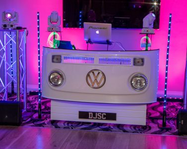 Our Sophisticated wedding set up supplied by Wedding DJ Cornwall.