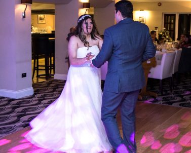 Our love hearts on the dance floor for Sam & Seb first dance with Dj in Cornwall.
