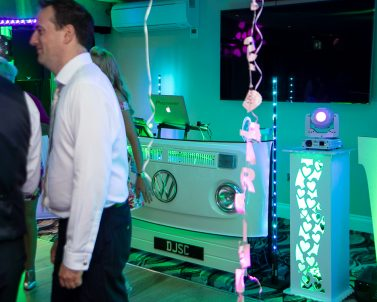 Our prestige VW DJ Booth supplied and banging out the biggest of dance tracks with Wedding Dj Cornwall.