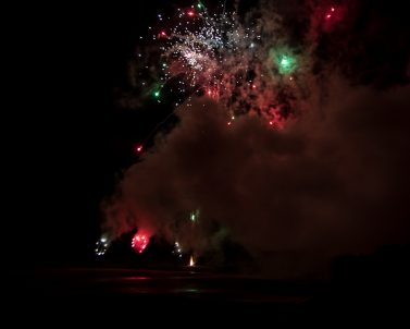 Firework display complimenting the wedding party delivered by Wedding DJ Cornwall.