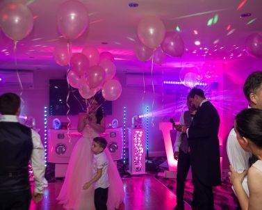 Premium lighting show with its beams complimenting the music supplied by Wedding Dj in CornwallMusic DJ Services Cornwall