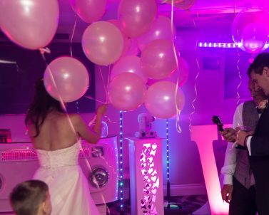 Our white VW DJ Booth supplied for the big day by Wedding DJ in Cornwall.