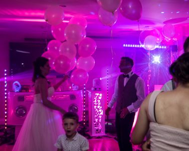 Awesome lighting supplied by Wedding DJ in Cornwall for Darren & Aga Wedding Party.