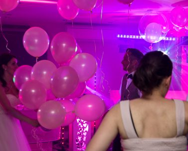 Our premium pink light show for Darren & Aga Wedding Party supplied by Wedding DJ in Cornwall.
