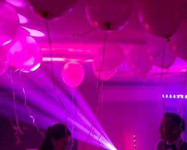 Pink Balloons at Darren & Aga wedding above the dance floor supplied by Wedding DJ Cornwall.