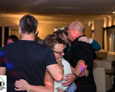 Friends and family come together to celebrate at Carylon Bay for Anne's 60th Birthday, lighting and audio supplied by Party DJ Cornwall.