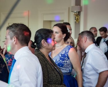 Packed dance floor action at Russ & Pia music supplied by Wedding DJ in Cornwall.