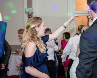 Celebration time at Russ & Pia Wedding listening and dancing to the big tunes supplied by Party DJ Cornwall.