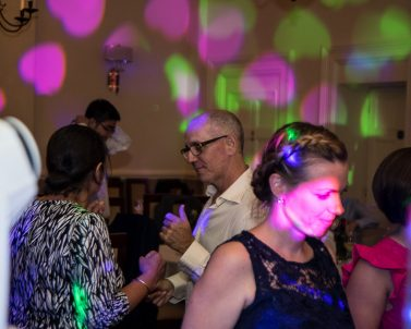 The Love Hearts lighting show and party tunes for Russ & Pia were supplied by Wedding Dj in Cornwall.
