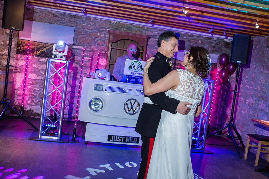 The first dance with party DJ Cornwall at Knightor Winery.