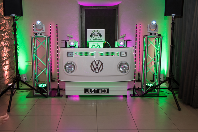 VW DJ Booth ready to start the party with party dj Cornwall.