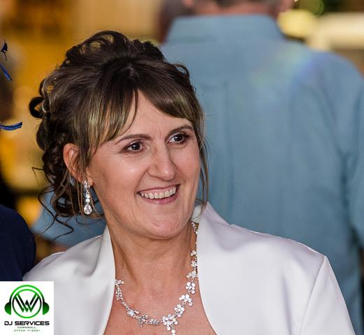 Yvonne enjoying her big wedding day with Party Dj Cornwall.