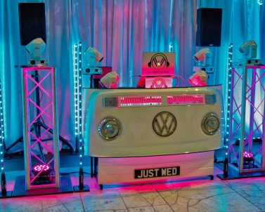 DJ Booth with blue mood lighting with wedding DJ Cornwall.