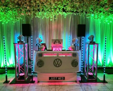 The Wedding DJ Booth in action with Mobile DJ Cornwall.