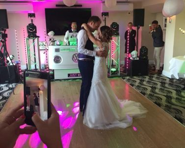 First dance for the happy couple at Carylon Bay with Party DJ Cornwall.