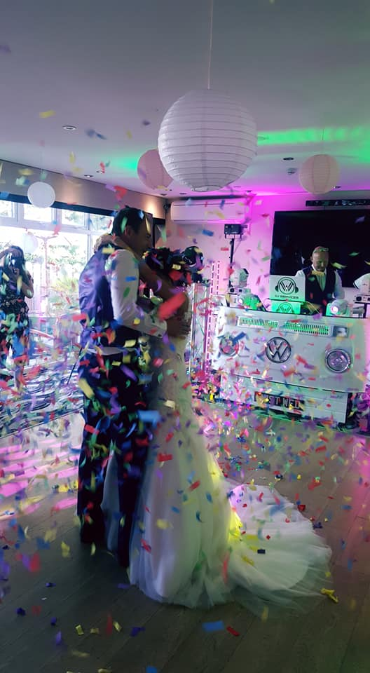 Confetti shower for Carlyon Bay Wedding Venue supplied by party dj Cornwall.
