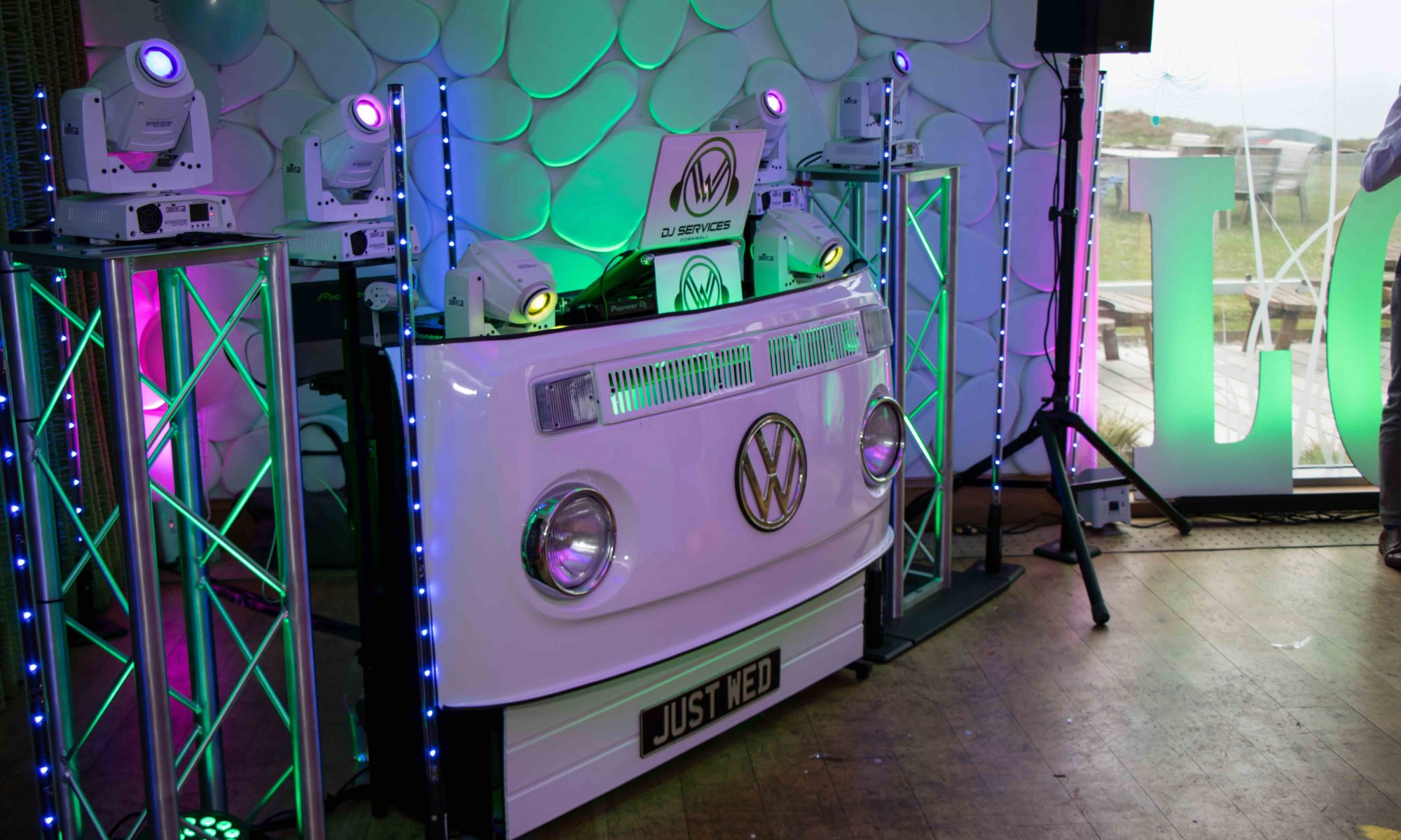 Our DJ booth at the North Cornwall Wedding Venue - Elements Hotel