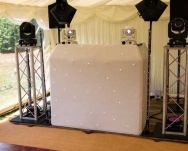 Traditional starlight wedding DJ Booth