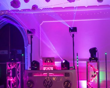 Mobile DJ Cornwall supplying the lights and laser show at Adam & Sarah Wedding Party at Alverton Manor.