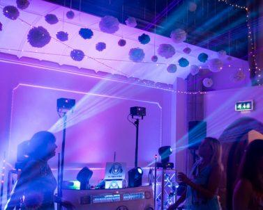 Mobile DJ Cornwall fantastic laser show at Adam & Sarah Wedding at Alverton Manor Aug 2018.