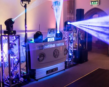 Everyone loves the facet prism effect only achieved with haze and working great with Party DJ Cornwall at The Alverton Manor