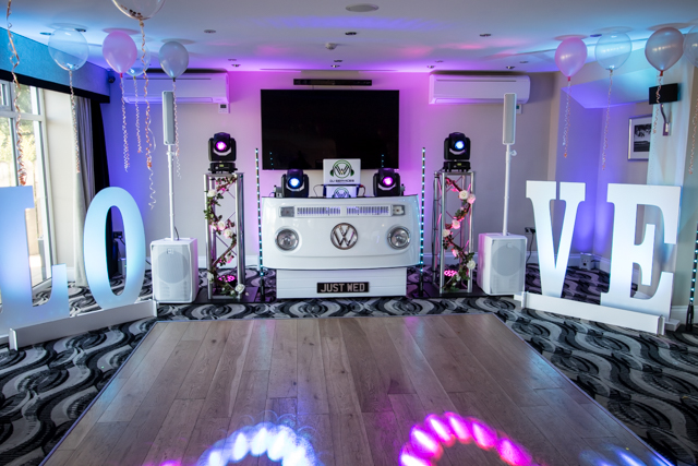 Our unique VW DJ Booth with Love Letters set up with Mobile DJ Cornwall at Carylon Bay Golf Club.