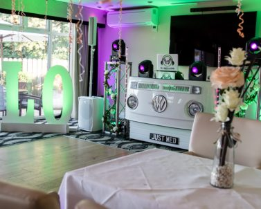 VW DJ Booth sophisticated green and pink wash look with mobile dj Cornwall.