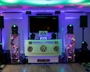 DJ Services providing the WOW factor at Matt & Sam Wedding with Party DJ Cornwall playing the best party tunes.