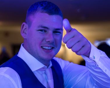 Thumbs up for a cracking party for Matt & Sam Wedding with Mobile DJ Cornwall delivering a cracking night at Carylon Bay Golf Club.
