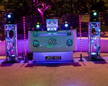 This is our very unique VW DJ Booth with premium lighting and audio supplied for Eden Project wedding and getting ready for the party with Party DJ Cornwall.