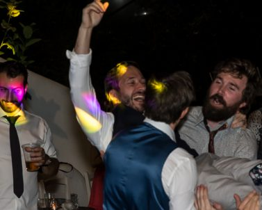 Groom joining in the party fun with Party DJ Cornwall