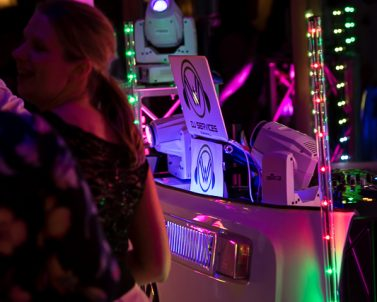Wedding DJ Cornwall supplying our unique VW DJ Booth and the guests love the originality.
