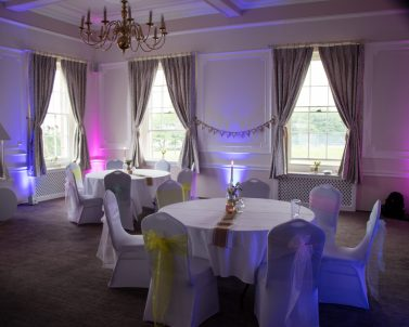 Mobile DJ In Cornwall supplying the room uplighting for Ashely & Steph's Wedding Day.