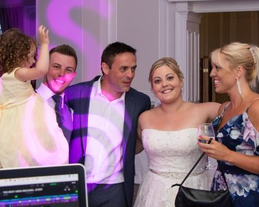 Family pic on the dance floor with music supplied by mobile Dj in Cornwall