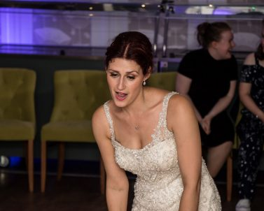 Our bride Sam enjoying the dance floor with her son with Mobile DJ Cornwall.