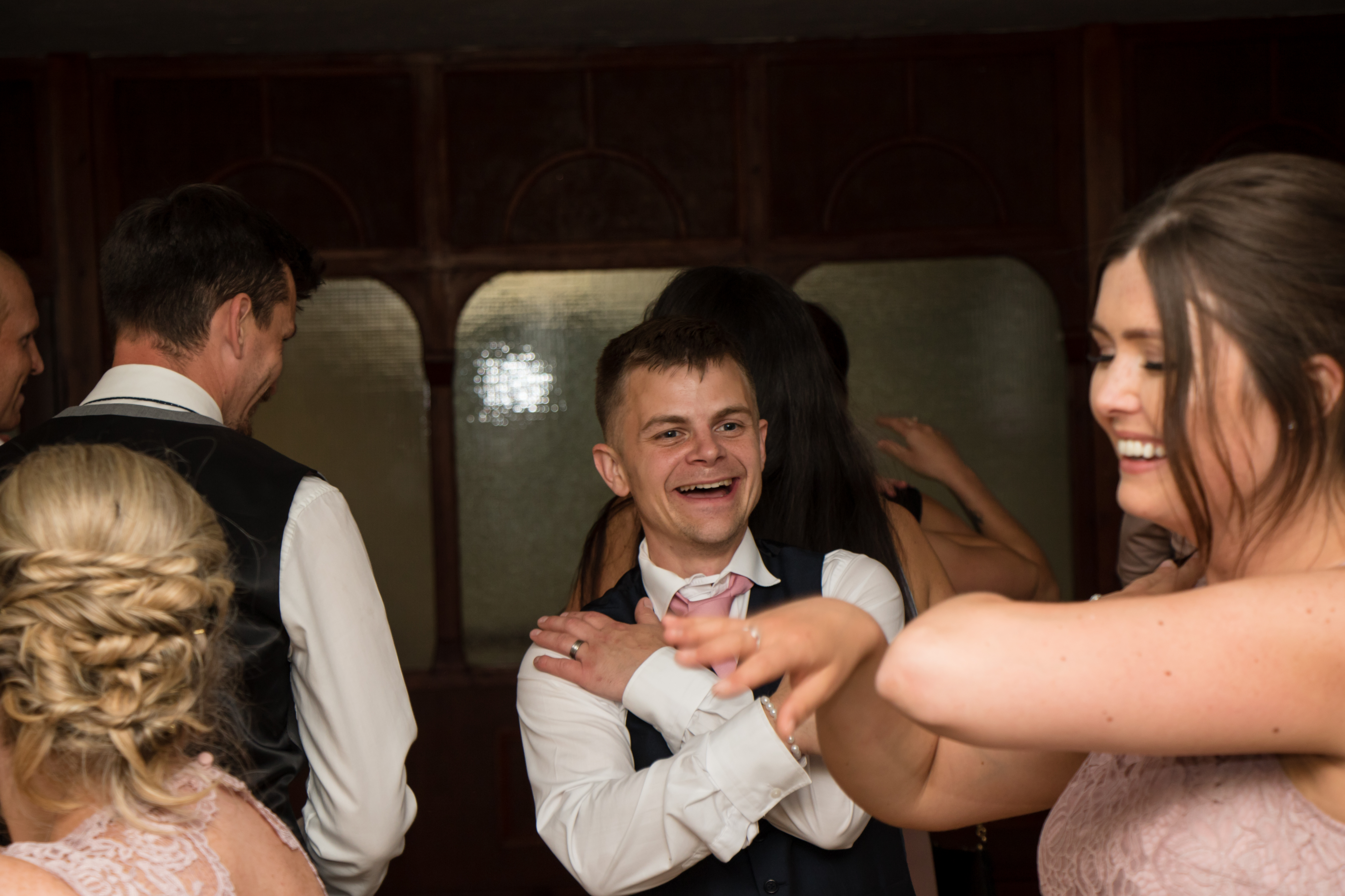 The groom getting in on the dance floor action with party DJ Cornwall.