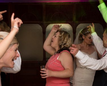 Amy and her party guests enjoying the party with music and lighting supplied by Party DJ in Cornwall.