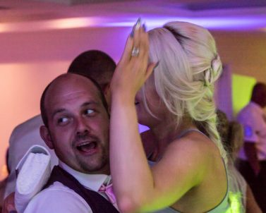 High octane emotional scenes on the dance floor, enjoying the celebration and big hitters supplied by party DJ Cornwall.