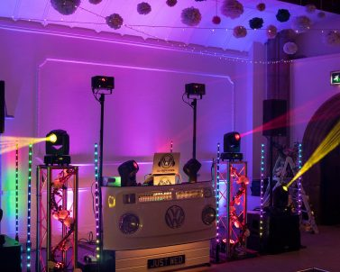 Advanced lighting equipment in action with mobile dj Cornwall.